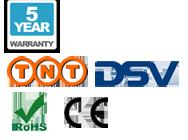 5 –jährige Guarantee; TNT Versand, DSV Versand, CE und RoHS Logo